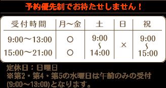 受付時間:平日午前9~13時、午後15~21時、土曜9~14時、祝日9~15時、定休日日曜